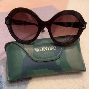 Valentino eggplant round frame sunglasses